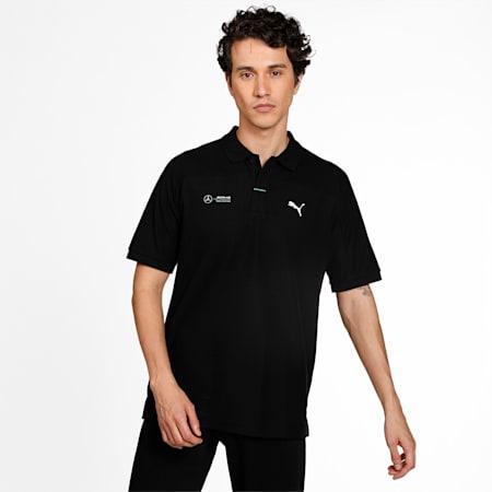 Mercedes F1 Men's Polo Shirt, Puma Black, small-IND