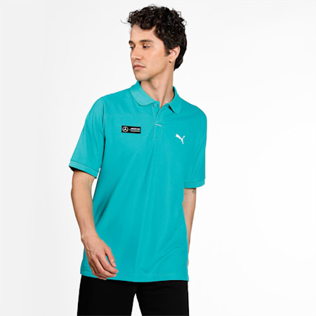 Mercedes F1 Men's Polo Shirt, Spectra Green, small-IND