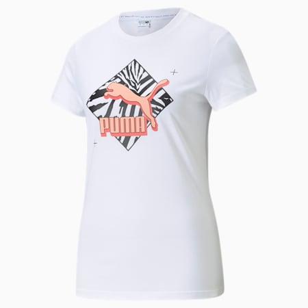 CG Graphic Women's  T-shirt, Puma White, small-IND