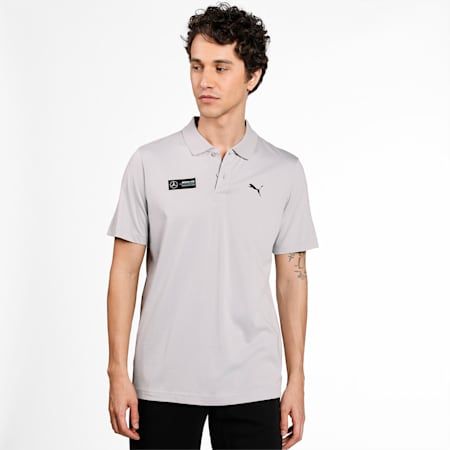 Mercedes F1 Essentials Men's Polo Shirt, Mercedes Team Silver, small-IND