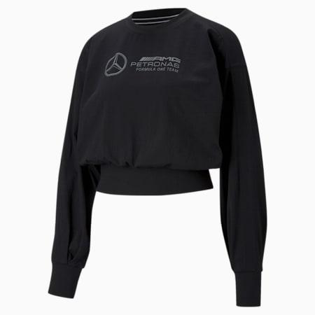 Mercedes F1 Logo Long Sleeve Women's Tee, Puma Black, small-GBR