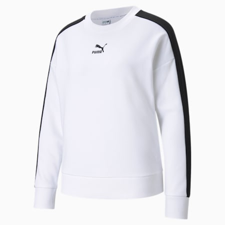 Iconic T7 Crew Neck Women's Sweatshirt, Puma White, small-GBR