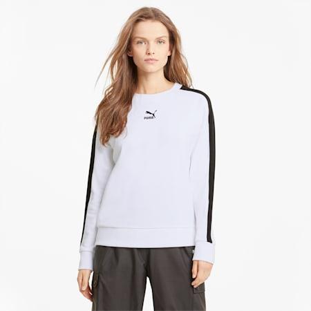 Iconisch T7 sweatshirt met ronde hals dames, Puma White, small