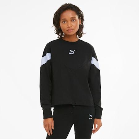 Iconic MCS Cropped Damen Sweatshirt mit Rundhalsausschnitt, Puma Black, small