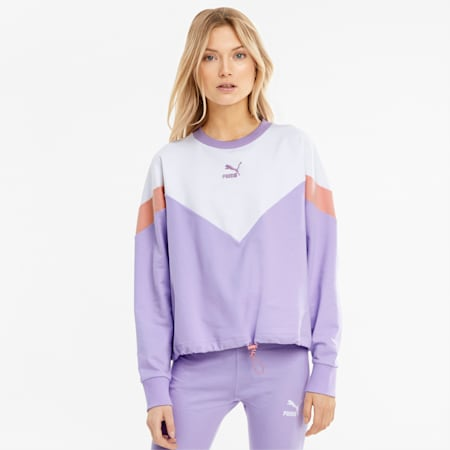 Iconic MCS Cropped Crew Neck Women's Sweatshirt, Light Lavender, small-GBR