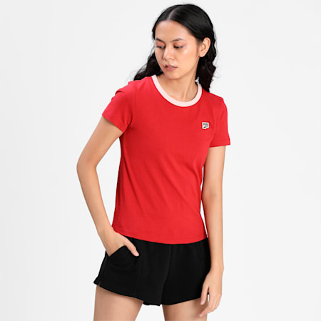 Downtown Small Logo Women's  Slim T-Shirt, American Beauty, small-IND