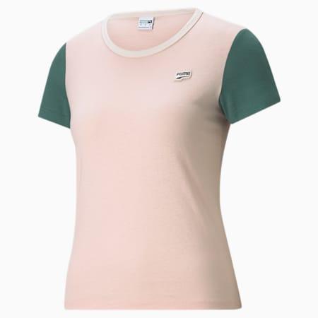 T-shirt à petit logo Downtown, femme, Nuage rose, petit