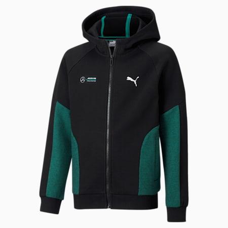 Mercedes Unisex Kids Hooded Sweat Jacket, Puma Black, small-IND