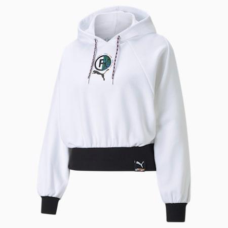 Damska bluza z kapturem PUMA International, Puma White, small