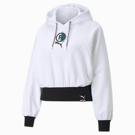 PUMA International Women's Relaxed Hoodie, Puma White, small-IND