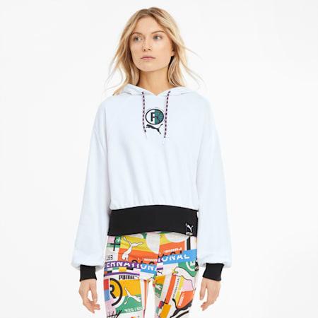 Sudadera con capucha PUMA International para mujer, Puma White, small