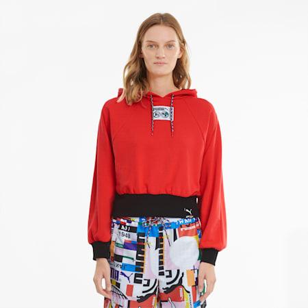 Sudadera con capucha PUMA International para mujer, Poppy Red, small