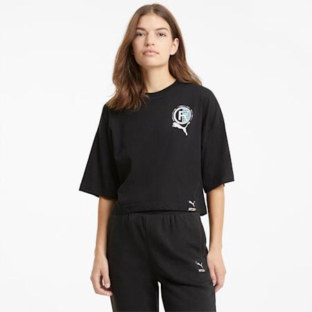 PUMA International Damen T-Shirt mit Grafikprint, Puma Black, small
