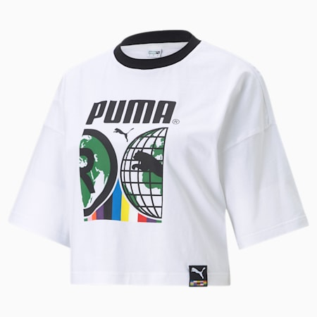 PUMA International Graphic Women's Relaxed T-shirt, Puma White, small-IND