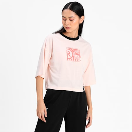 PUMA International Graphic Women's Relaxed T-shirt, Cloud Pink, small-IND