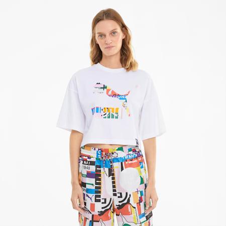PUMA International Damen T-Shirt mit Grafikprint, Puma White-multi, small