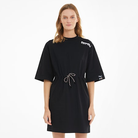 PUMA International Women's Tee Dress, Puma Black, small-SEA