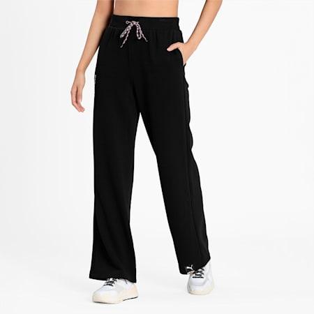 PUMA International Wide Leg Women's Pants, Puma Black, small-IND