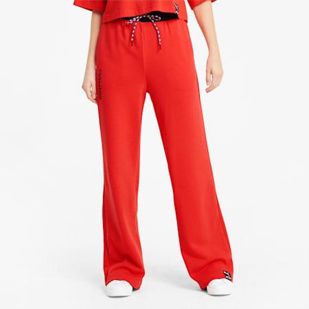 PUMA International Wide Leg Damen Hose, Poppy Red, small