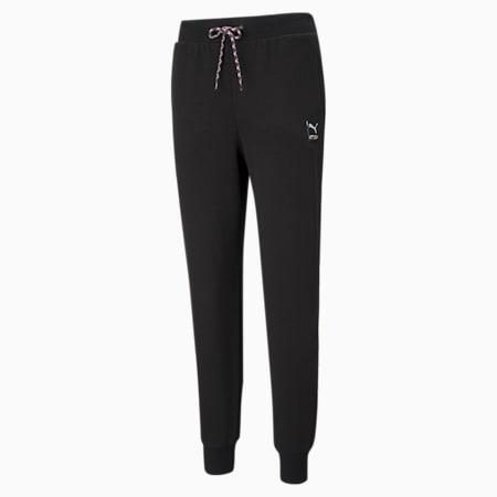 Damskie dzianinowe spodnie dresowe PUMA International, Puma Black, small