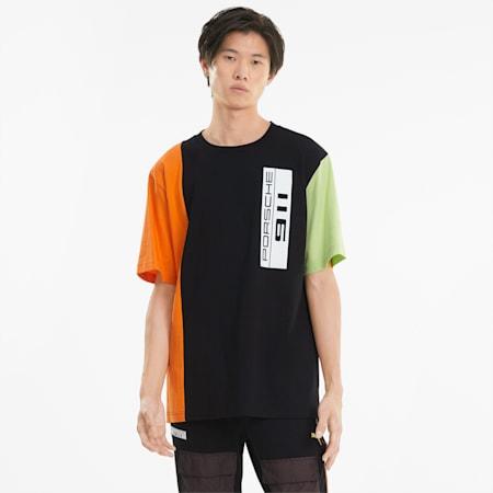 님성 포르쉐 라이센스 스테이트먼트 오버 사이즈 반팔 티셔츠/PL Statement Oversize Tee, Puma Black, small-KOR