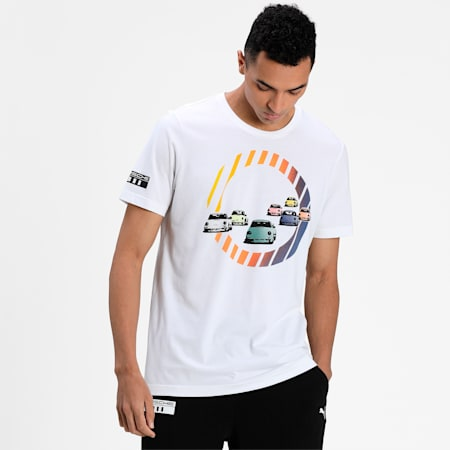Porsche Legacy Graphic Men's T-Shirt, Puma White, small-IND