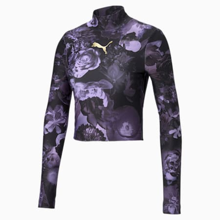 Evide Printed Women's Crop Top, Elektro Purple, small-IND