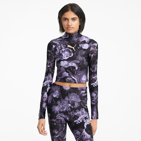 Evide Printed Women's Crop Top, Elektro Purple, small