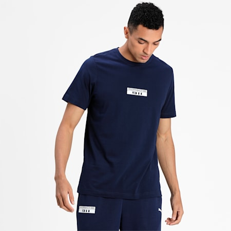 Porsche Legacy Base Logo Men's  T-shirt, Peacoat, small-IND