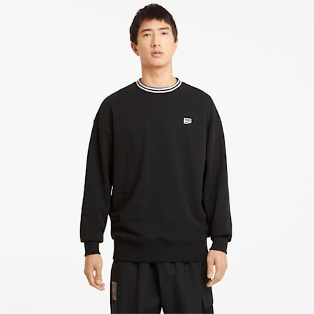 Downtown Crew Neck Men's Sweatshirt, Puma Black, small-GBR