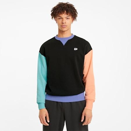 Sweat à col rond Downtown homme, Puma Black-multi color, small