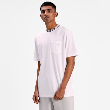 Downtown Pocket Men's Relaxed T-shirt, Puma White, small-IND