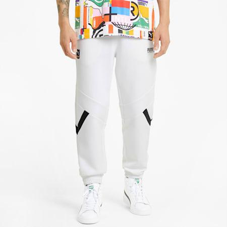 Pantalones de chándal de punto doble PUMA International para hombre, Puma White, small