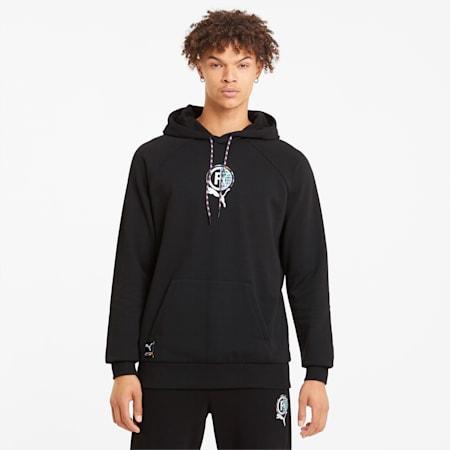 PUMA International hoodie met grafische print heren, Puma Black, small