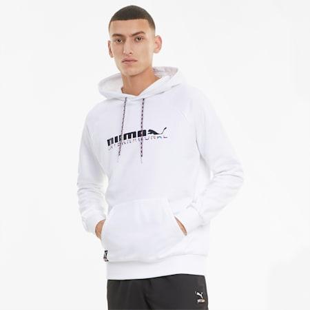 PUMA International hoodie met grafische print heren, Puma White, small