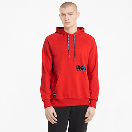PUMA International Graphic Men's Hoodie, High Risk Red, small