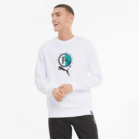 PUMA International grafische sweater met ronde hals heren, Puma White, small