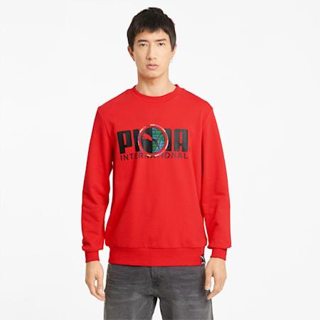 Sudadera de cuello redondo con estampado gráfico PUMA International para hombre, High Risk Red, small
