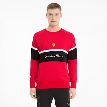 Męska bluza Scuderia Ferrari z okrągłym dekoltem, Rosso Corsa, small
