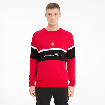 Scuderia Ferrari Crew Neck Men's Sweater, Rosso Corsa, small