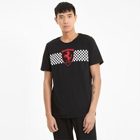 Camiseta Scuderia Ferrari Racecon bandera cuadriculada para hombre, Puma Black, pequeño