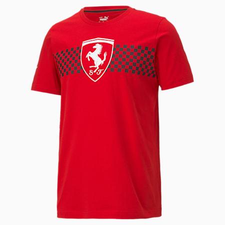 T-shirt à drapeau damier Scuderia Ferrari Race, homme, Rosso corsa, petit