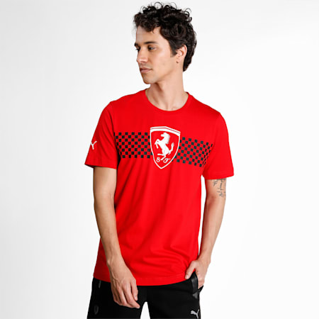 Scuderia Ferrari Chequered Flag Men's  T-shirt, Rosso Corsa, small-IND
