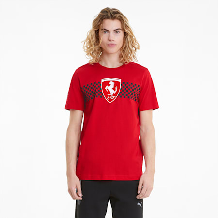Camiseta Scuderia Ferrari Racecon bandera cuadriculada para hombre, Rosso Corsa, pequeño