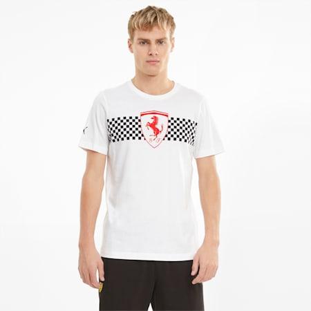 Scuderia Ferrari T-shirt met geruite vlag heren, Puma White, small