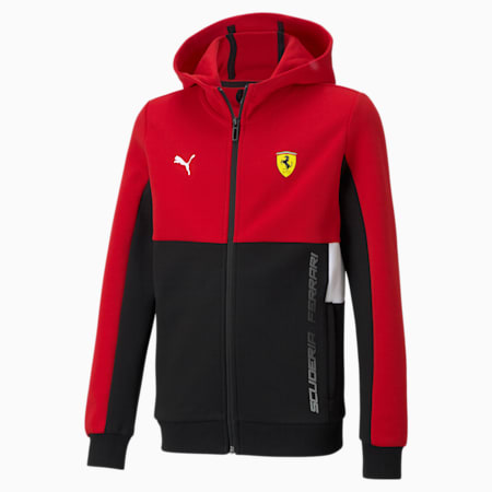Scuderia Ferrari  Unisex Kids Hooded Sweat Jacket, Rosso Corsa, small-IND