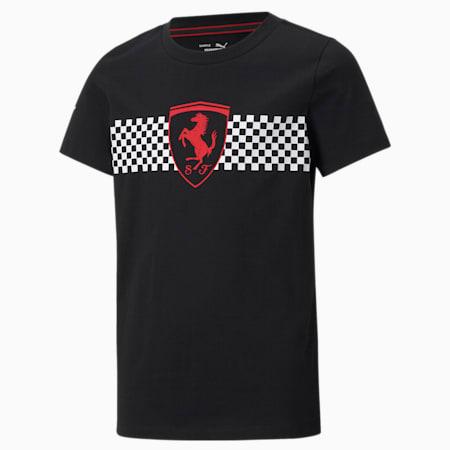 Scuderia Ferrari Race Chequered Flag Youth Tee, Puma Black, small-SEA