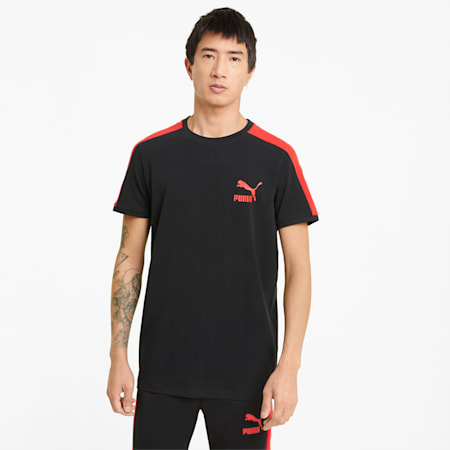Iconic T7 Men's  Slim T-Shirt, Puma Black-high risk red, small-IND
