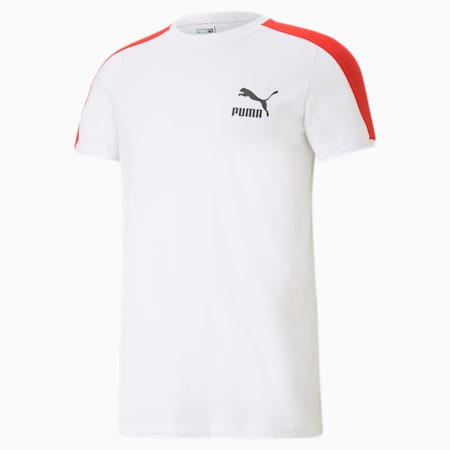 Iconic T7 Men's Tee, Puma White-high risk red, small