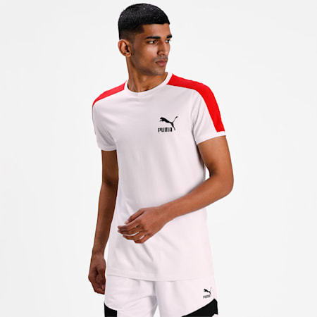 Iconic T7 Slim Fit Men's T-Shirt, Puma White-high risk red, small-IND